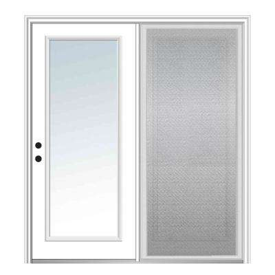 64 in. x 80 in. Primed Fiberglass Prehung Right Hand Inswing Low-E Clear Glass Full Lite Hinged Patio Door with Screen