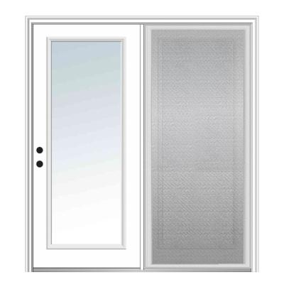 75 in. x 81.75 in. Primed Fiberglass Prehung Right Hand Inswing Low-E Clear Glass Full Lite Hinged Patio Door w/ Screen