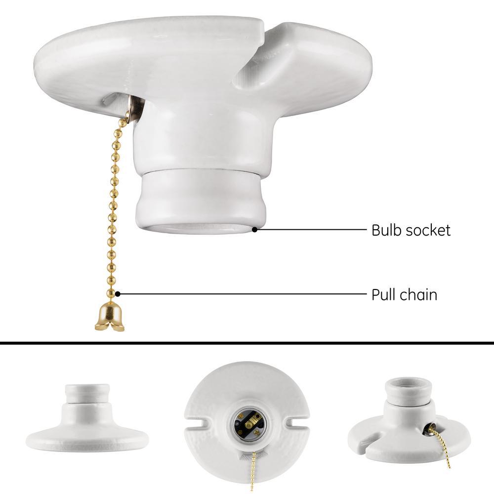 GE - Medium Base Porcelain Lampholder with Pull Chain