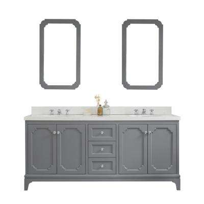 Queen 72 in. Cashmere Grey With Quartz Carrara Vanity Top With Ceramics White Basins