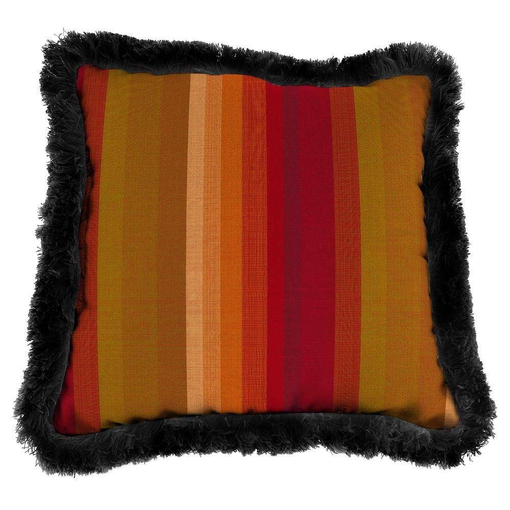 Sunbrella Astoria Sunset Square Outdoor Throw Pillow with Black Fringe