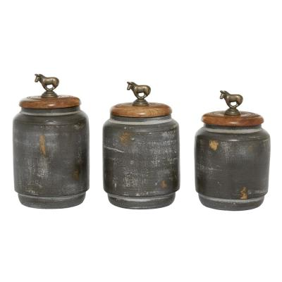 3-Pieces Canister Sets For Kitchen Counter, Rustic Bohemian Storage Jars, Dark Grey