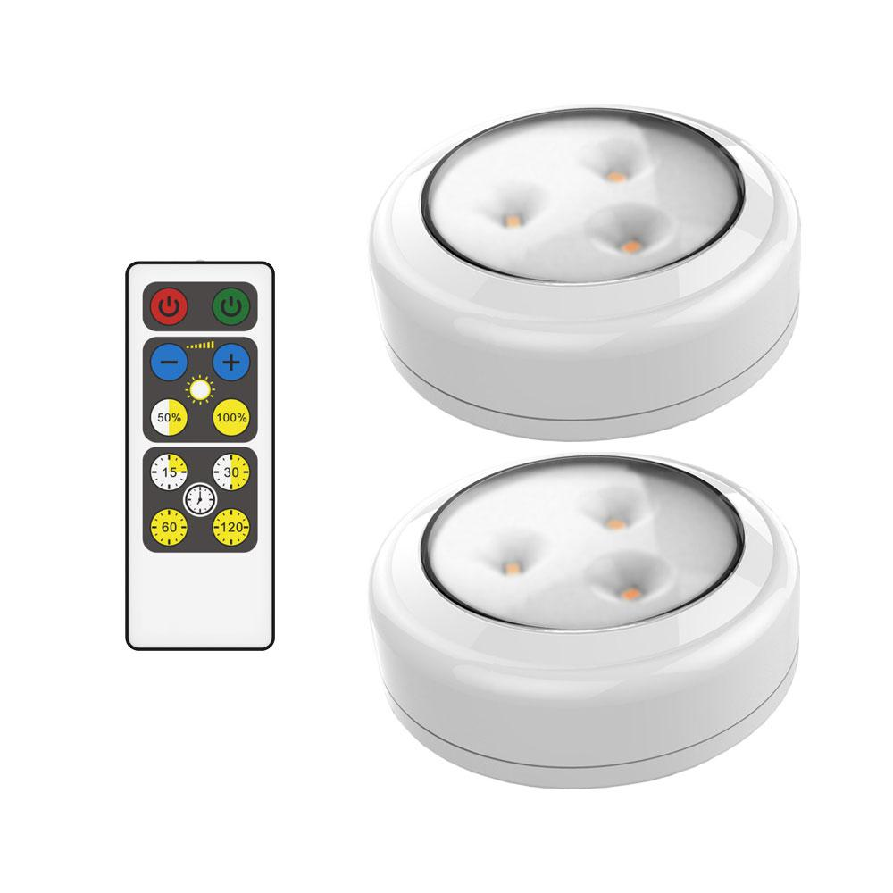 Brilliant Evolution Led White Puck Light With Remote 2 Pack