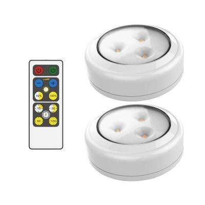 LED White Puck Light With Remote (2-Pack)