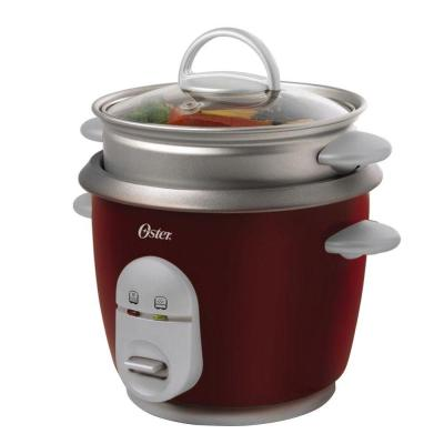 6-Cup Red Rice Cooker with Steaming Tray, Measuring Cup and Rice Paddle