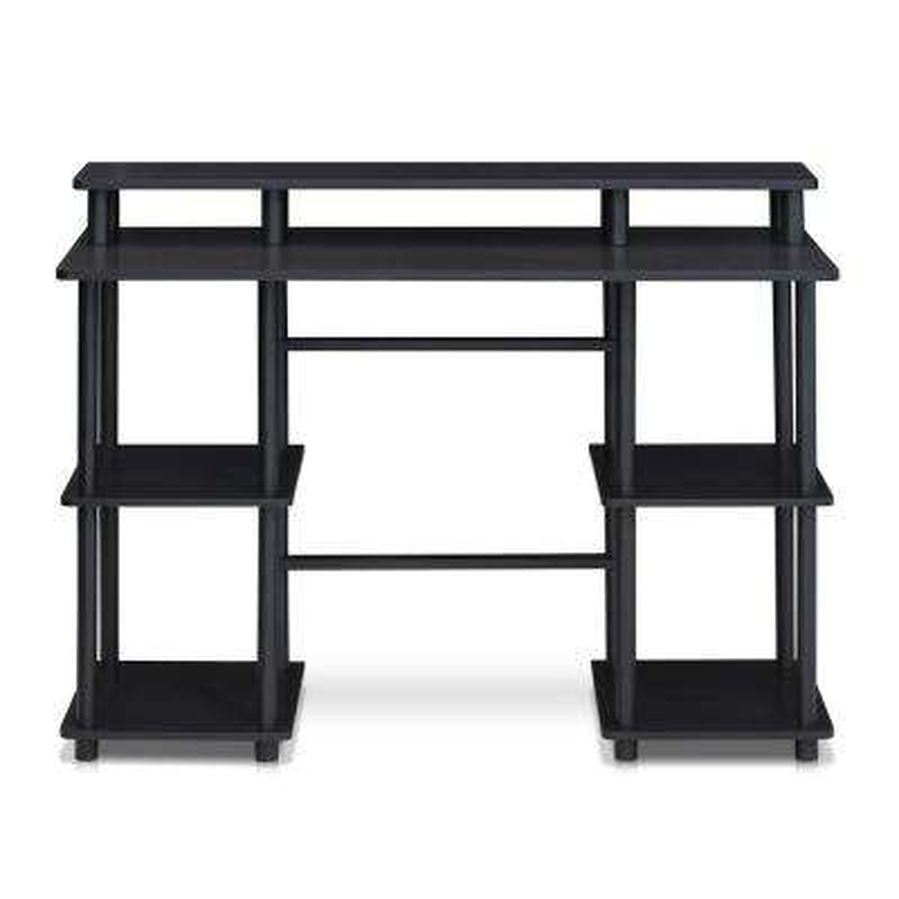 Turn-N-Tube Espresso/Black Computer Desk with Top Shelf