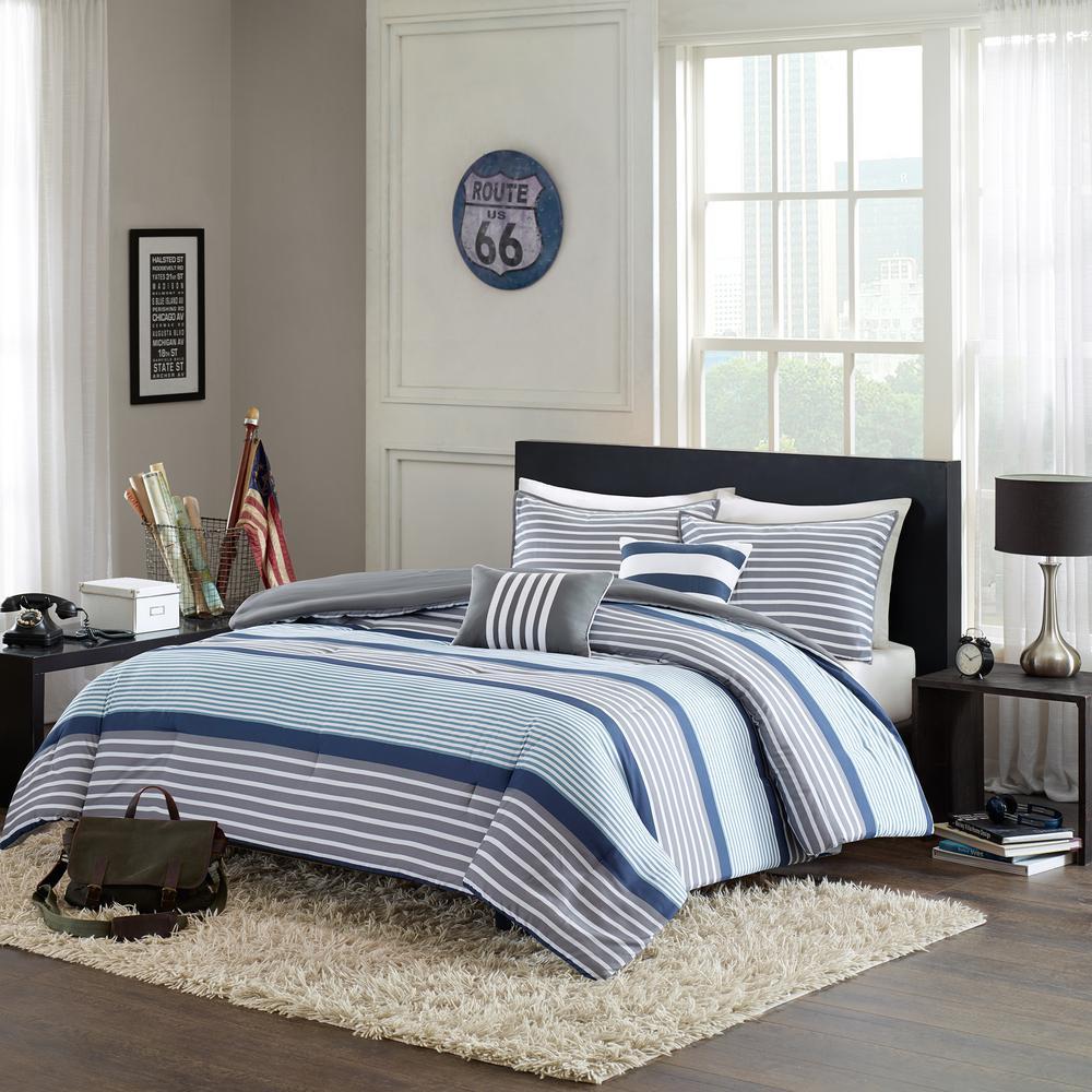 Matteo 5-Piece Blue Full/Queen Comforter Set