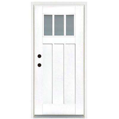 36 in. x 80 in. Smooth White Right-Hand Inswing 3-Lite Frosted Craftsman Finished Fiberglass Prehung Front Door