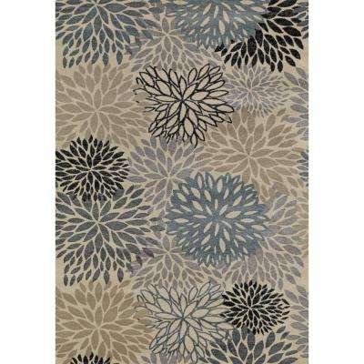 Lumina Flowers Ivory/Blue 6 ft. 7 in. x 9 ft. 3 in. Area Rug