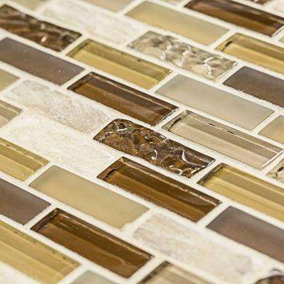 Sunwashed Mini Brick 12 in. x 12 in. x 8 mm Glass Onyx Mosaic Wall Tile