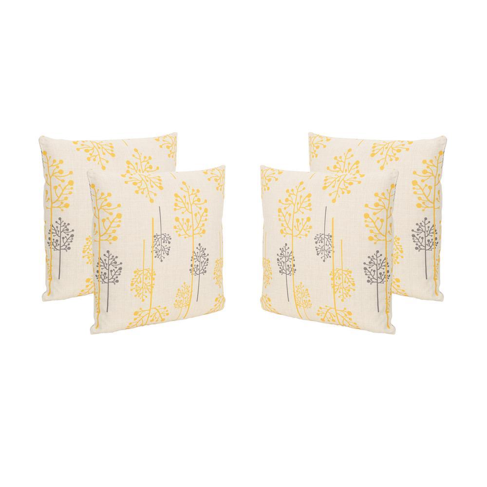 Sagres Orange and Grey Square Outdoor Throw Pillows (Set of 4)