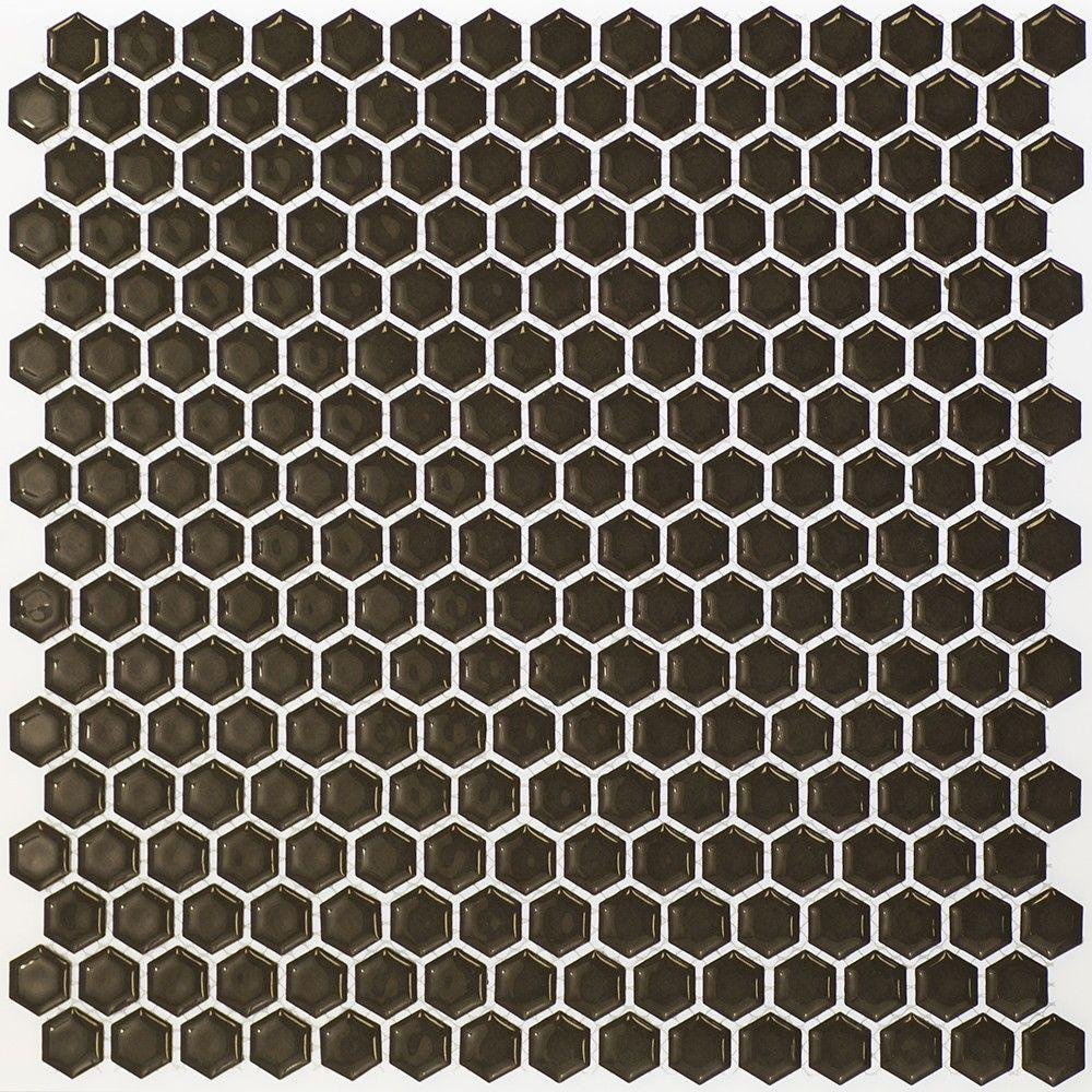 Bliss Edged Hexagon Polished Dark Gray Ceramic Mosaic Floor and Wall
