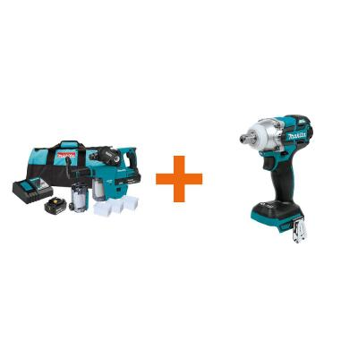 18-Volt LXT 1 in. Brushless SDS-Plus Rotary Hammer kit w/HEPA Attachment 5.0Ah with Bonus 18V LXT 1/2 in. Impact Wrench