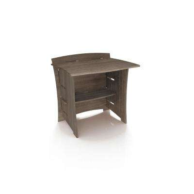 30 in. Desk Extension with Solid Wood in Grey Driftwood Color
