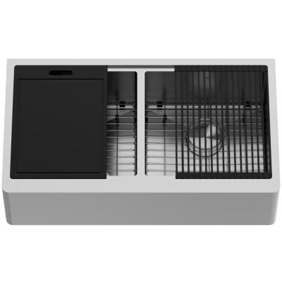 Oxford Stainless Steel 36 in. Double Bowl Flat Farmhouse Apron-Front Workstation Kitchen Sink with Accessories