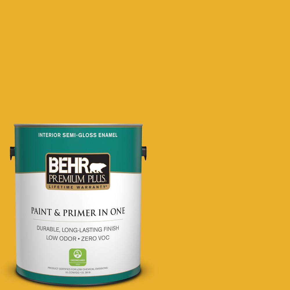 BEHR Premium Plus 1-gal. #P280-7 Midsummer Gold Semi-Gloss Enamel Interior Paint