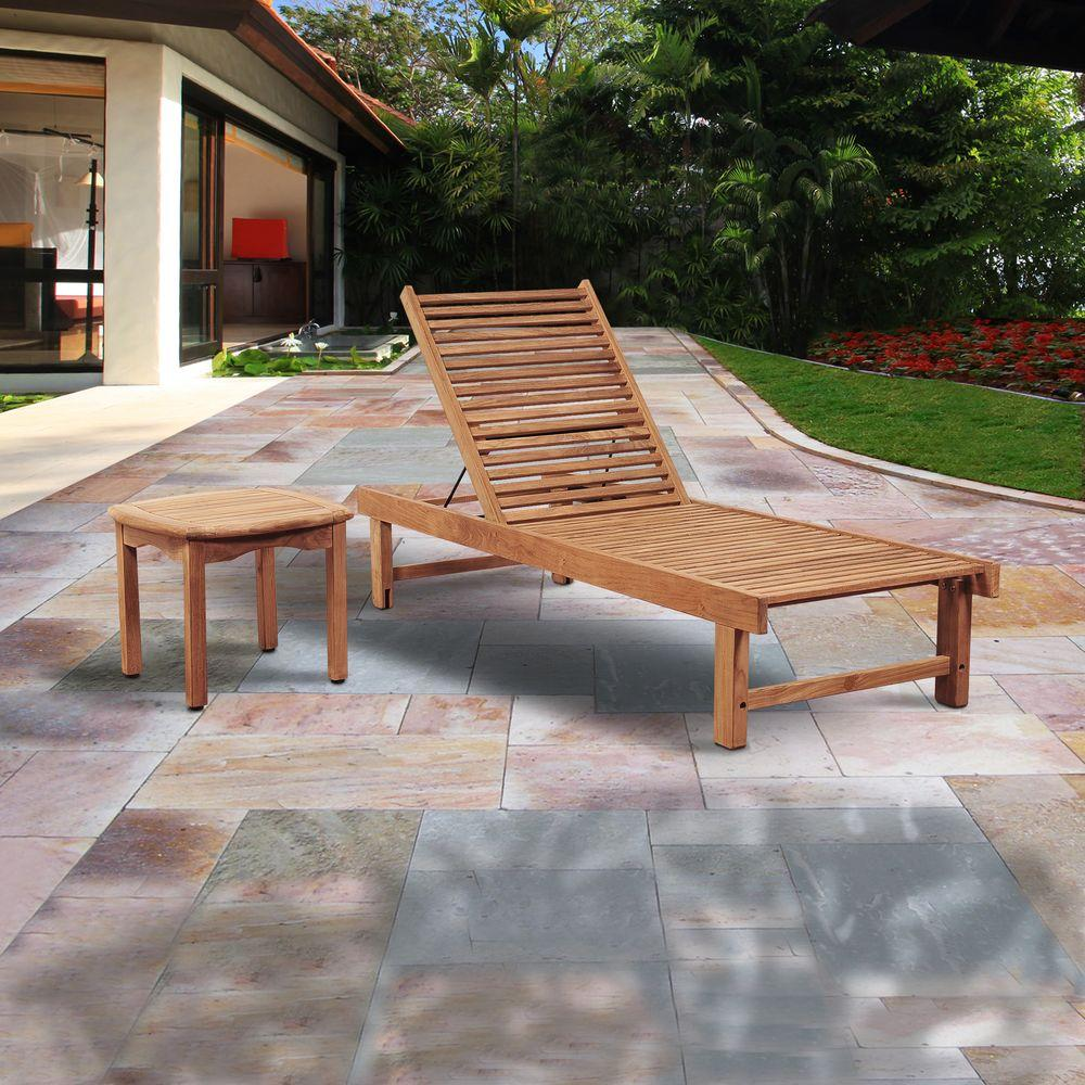 Amazonia radcliffe 2 piece teak patio lounger set sc niaslounger intan the home depot Home depot teak patio furniture