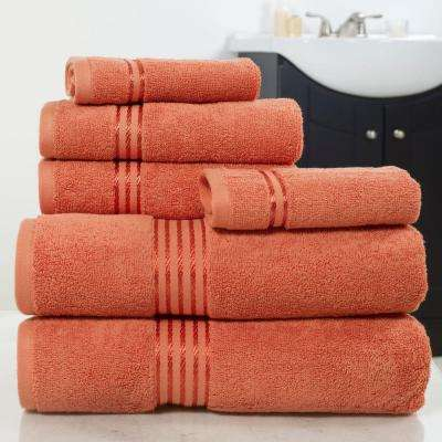 100% Egyptian Cotton Hotel Towel Set in Brick (6-Piece)