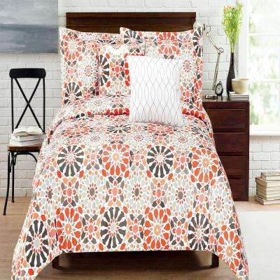 Carson Geo Microfiber Comforter Set Multi-Colored Queen (5-Piece)