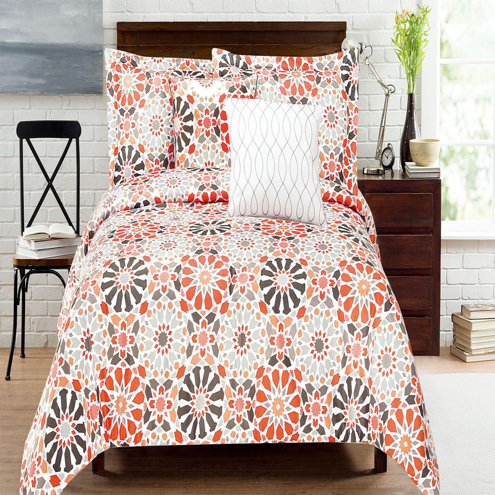 Carson Geo Microfiber Comforter Set Multi-Colored Queen (5-Piece) MF75P08CMFS