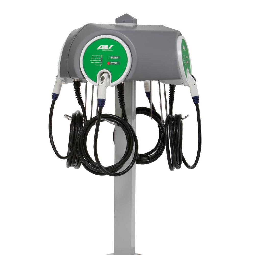 Quad Pedestal 30 Amp Level 2 EV Charging Stations with 25