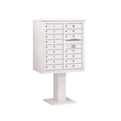 3400 Series White Mount 4C Pedestal Mailbox with 16 MB1 Doors