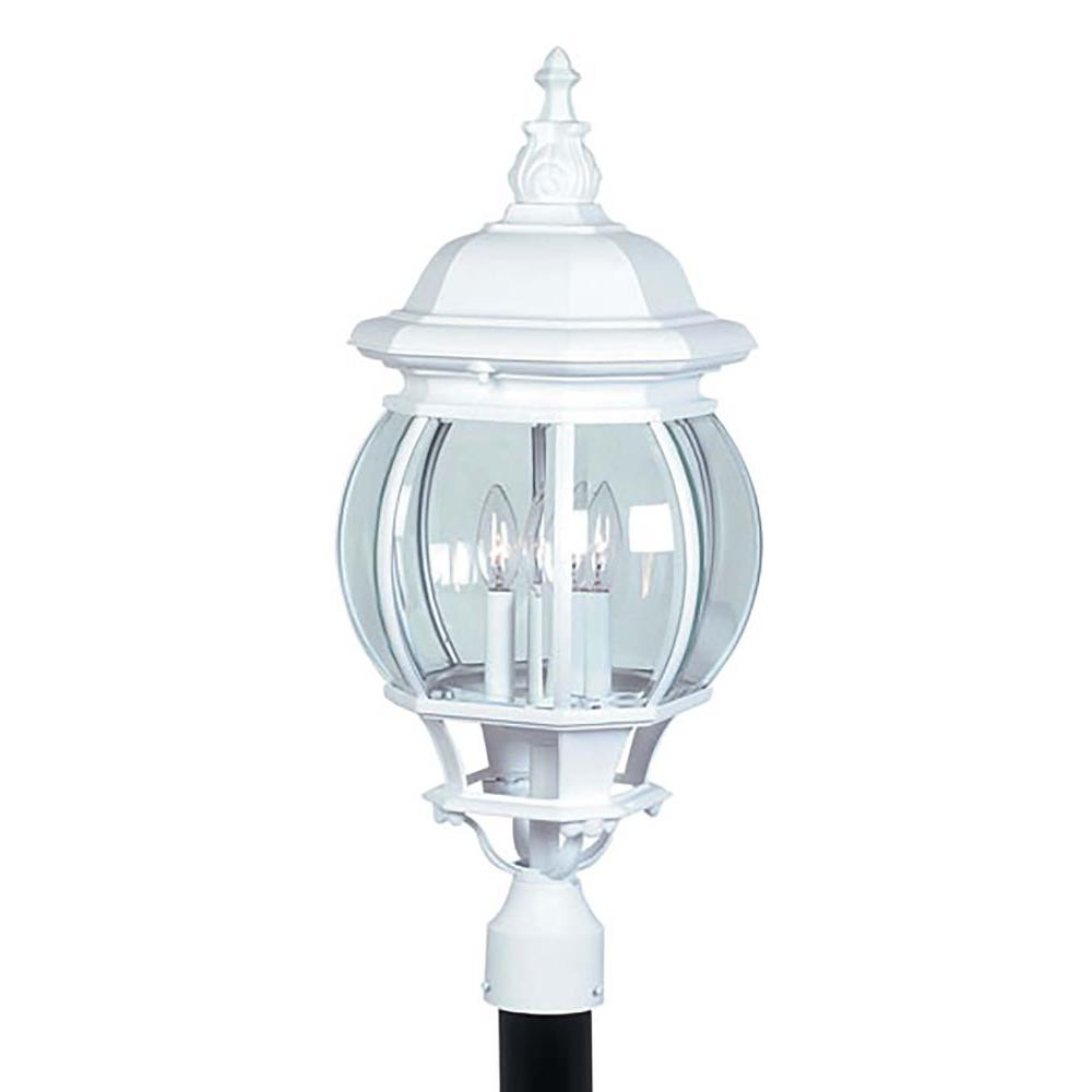 ARTCRAFT Classico 4-Light White Outdoor Post Lantern Classico European styled large outdoor post mount with clear glassware in white finish