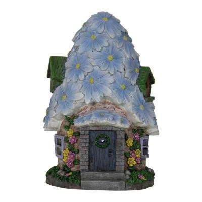 Solar 15 in. Flower Roof House