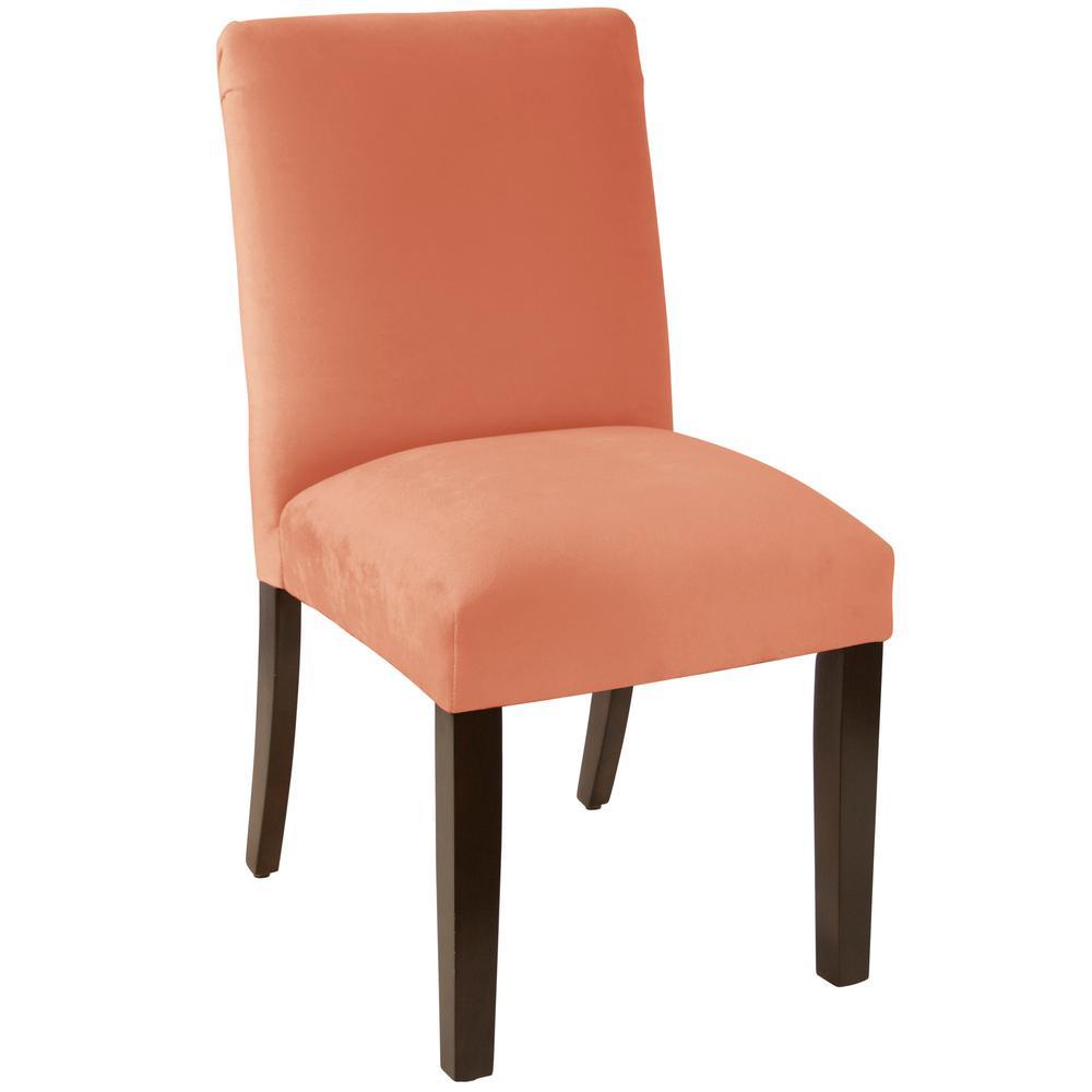 Velvet Papaya Dining Chair With Diamond Tufted Back