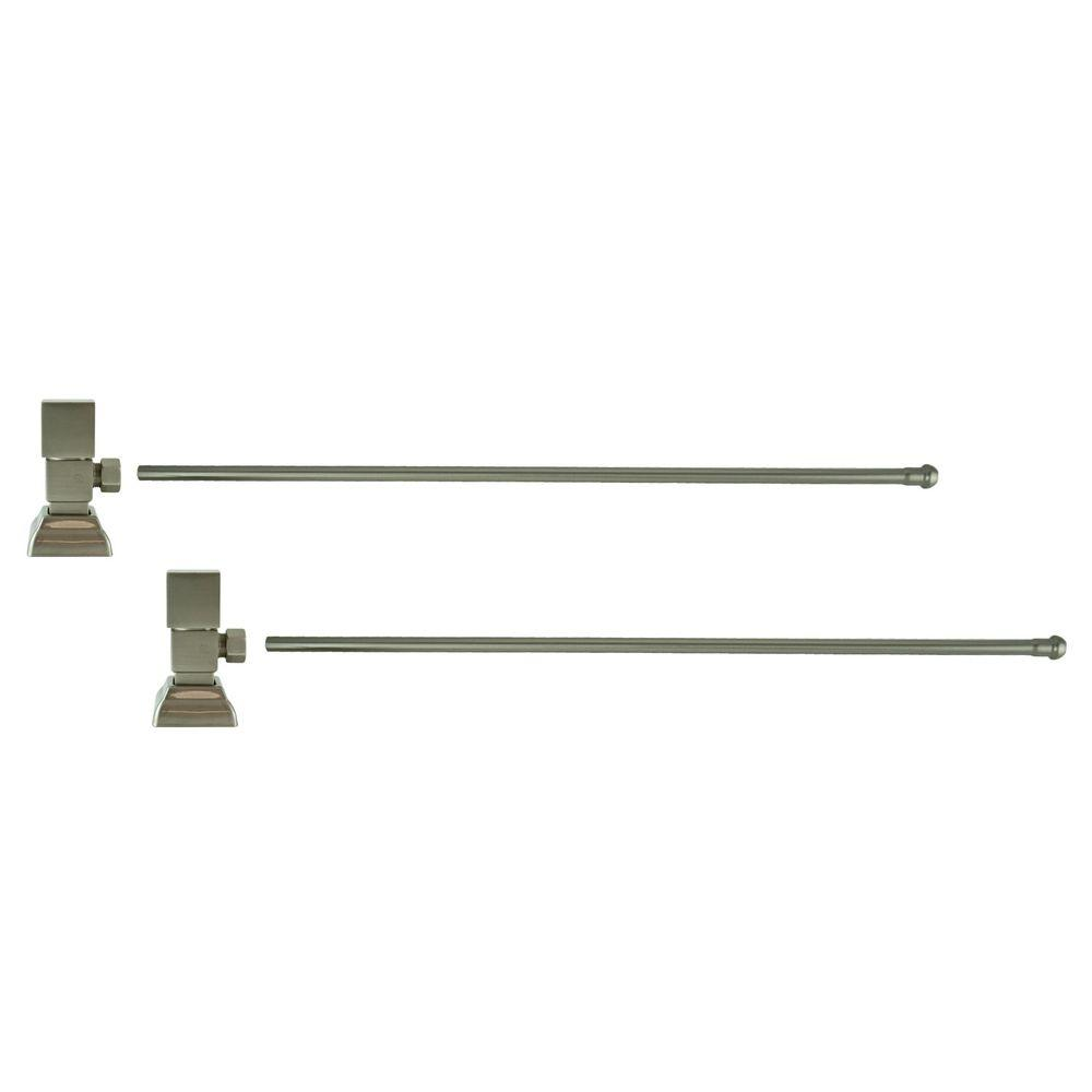 Barclay Products 3/8 in. O.D x 20 in. Brass Rigid Lavatory Supply Lines with Square Handle Shutoff Valves in Brushed Nickel Barclay provides all your essential bathroom needs. Enjoy the convenience of accessible water shut-off with these decorative lavatory supplies. Choose from 4 designer finishes. Color: Brushed Nickel.