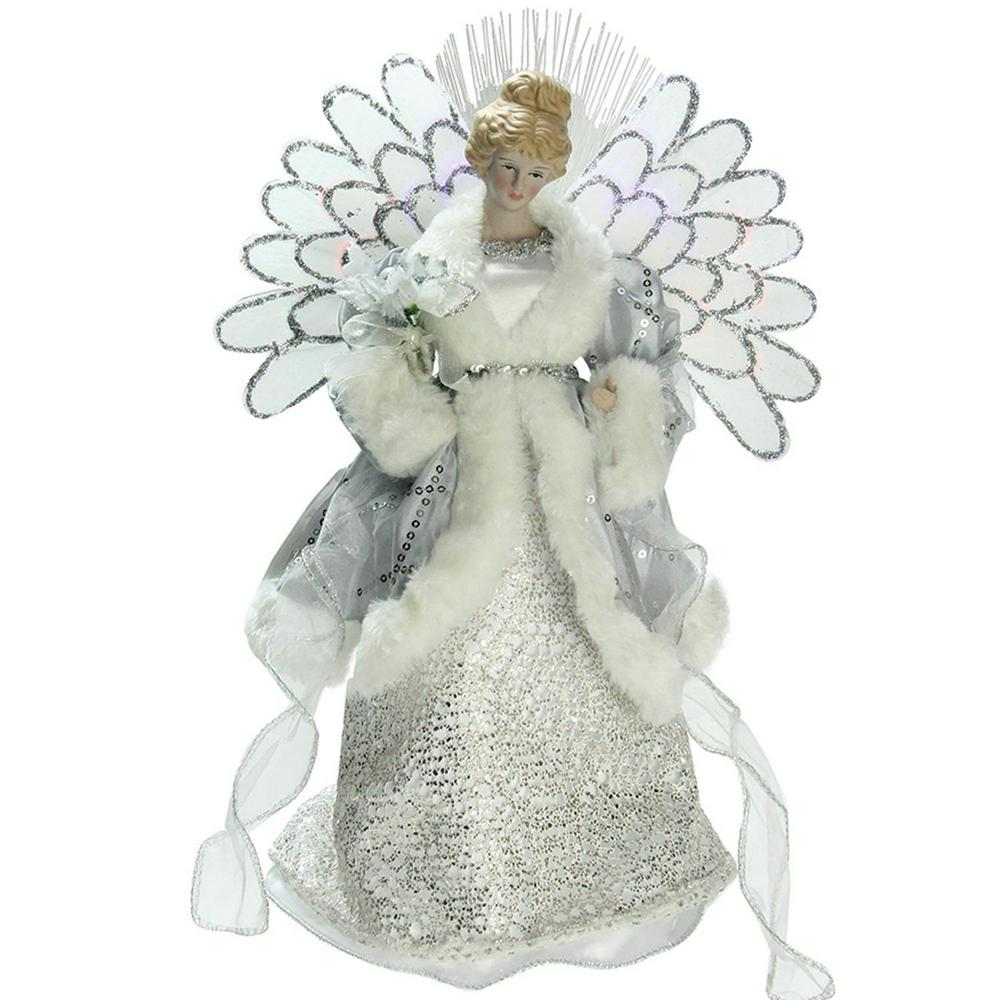 13 in. Lighted B/O Fiber Optic Angel in Silver Gray Gown