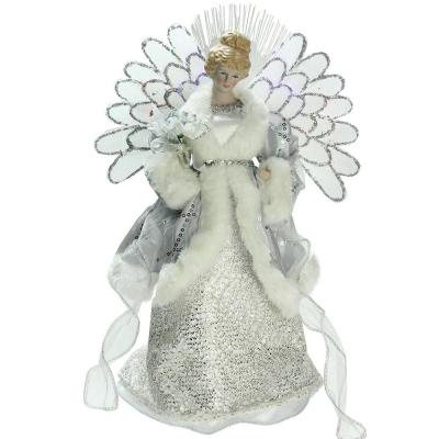 13 in. Lighted B/O Fiber Optic Angel in Silver Gray Gown Christmas Tree Topper