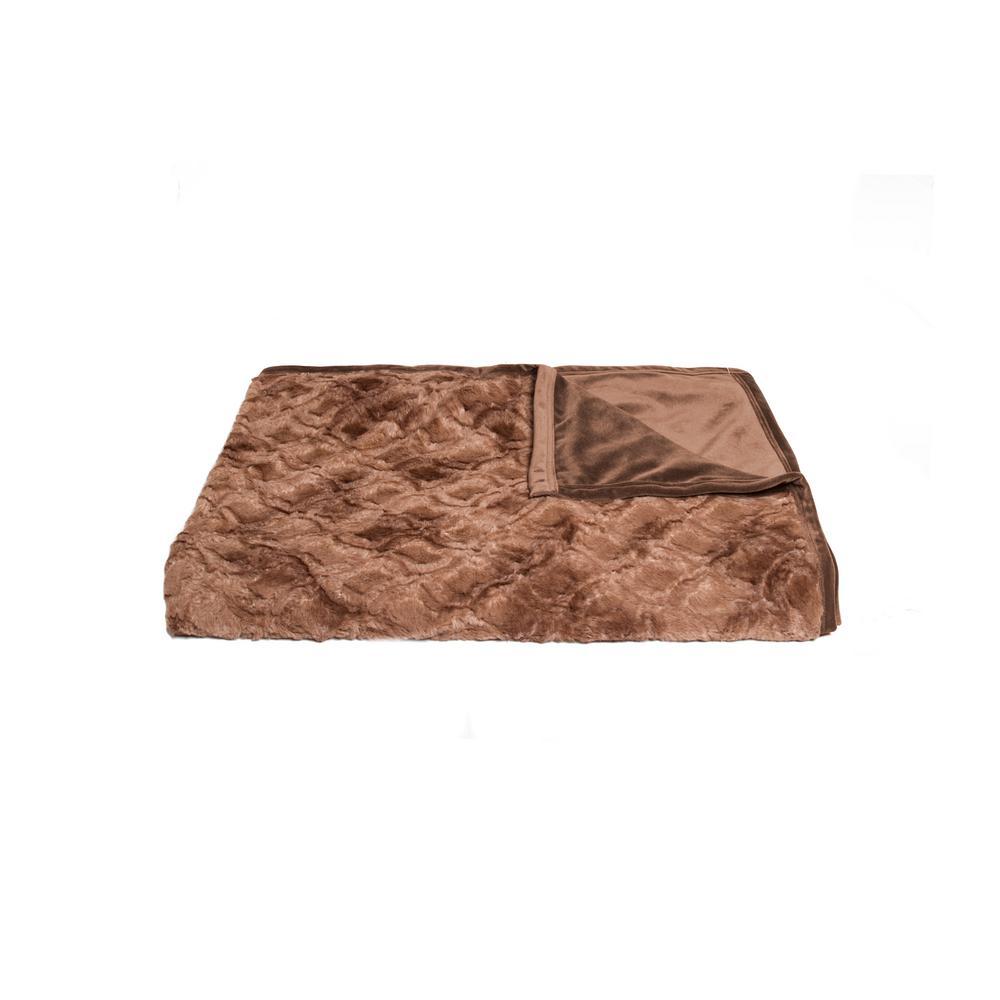 Faux Fur Brown Mink Throw