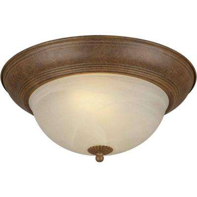 2-Light Chestnut Flush Mount with Umber Cloud Glass Shade