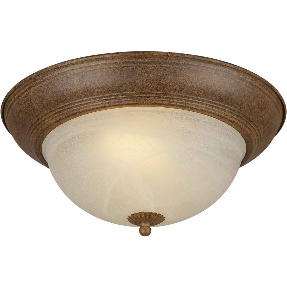 Talista 2-Light Chestnut Flushmount with Umber Cloud Glass Shade