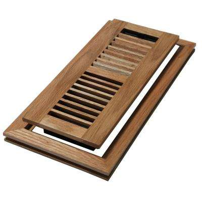 4 in. x 10 in. Wood Natural Oak Louvered Design Flush Mount Floor Register