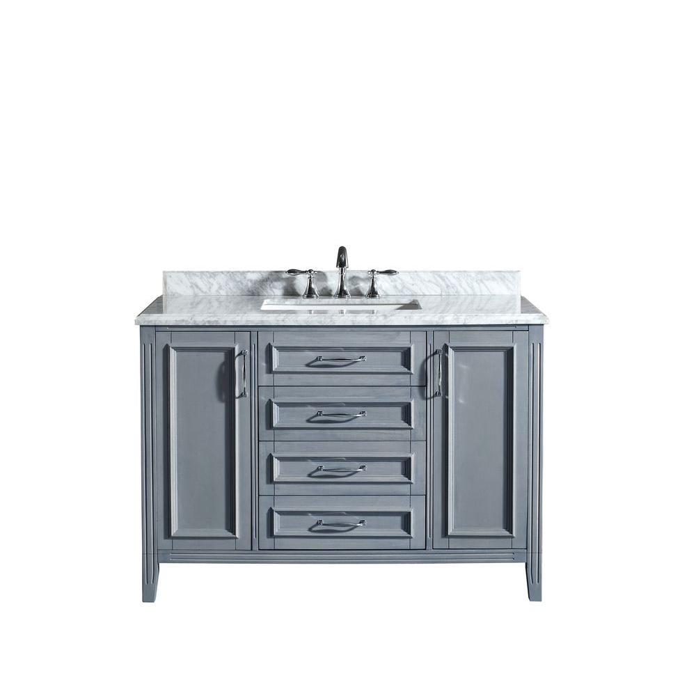 Daniel 48 in. Vanity in Gray with Marble Vanity Top in Carrara White