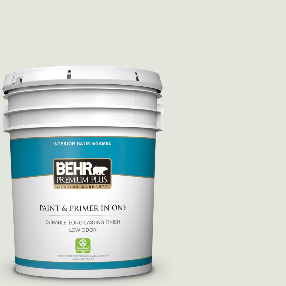 Behr Premium Plus 5 Gal Bl W06 Whispering Waterfall Satin Enamel Low Odor Interior Paint And Primer In One 705005 The Home Depot