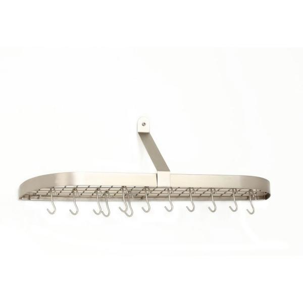 36 in. x 9 in. x 10.75 in. Satin Nickel Wall Pot Rack with 12-Hooks