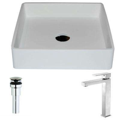 Passage Series 1-Piece Man Made Stone Vessel Sink in Matte White with Enti Faucet in Brushed Nickel
