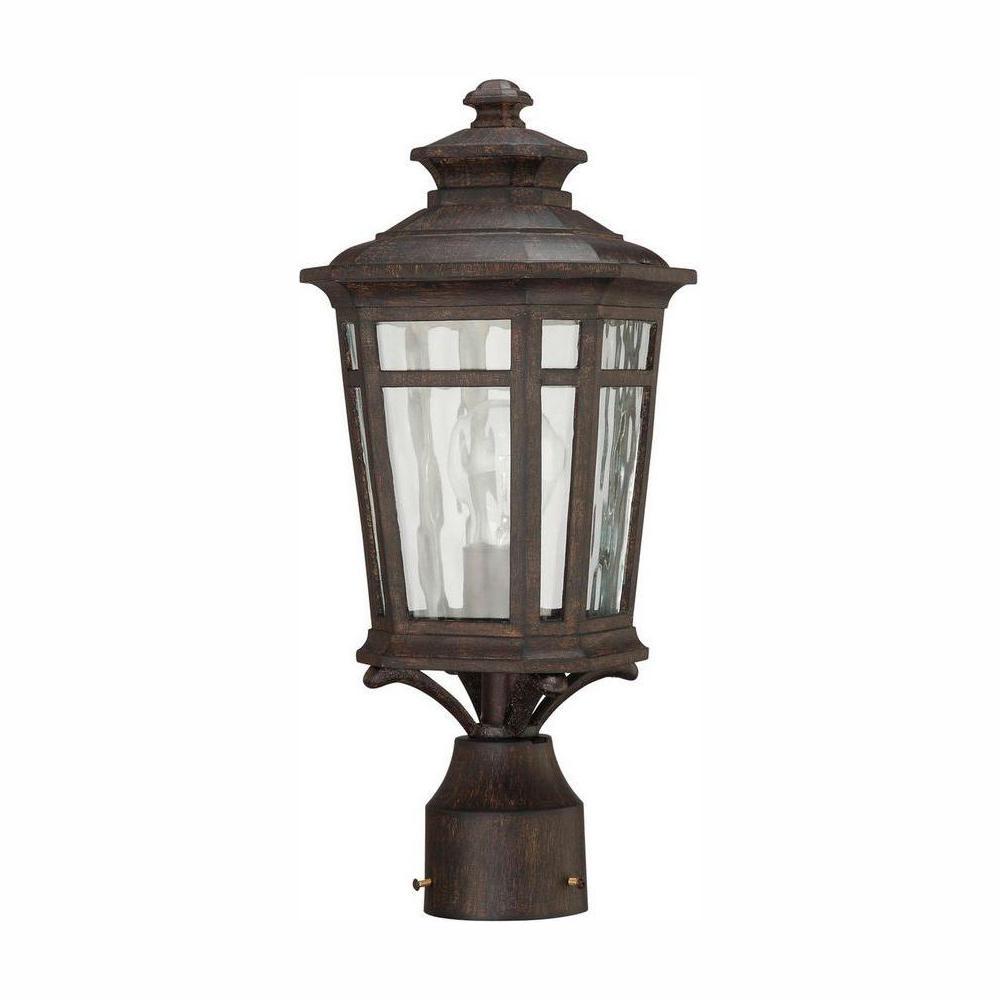 Waterton 1-Light Outdoor Dark Ridge Bronze Post Mount Lantern