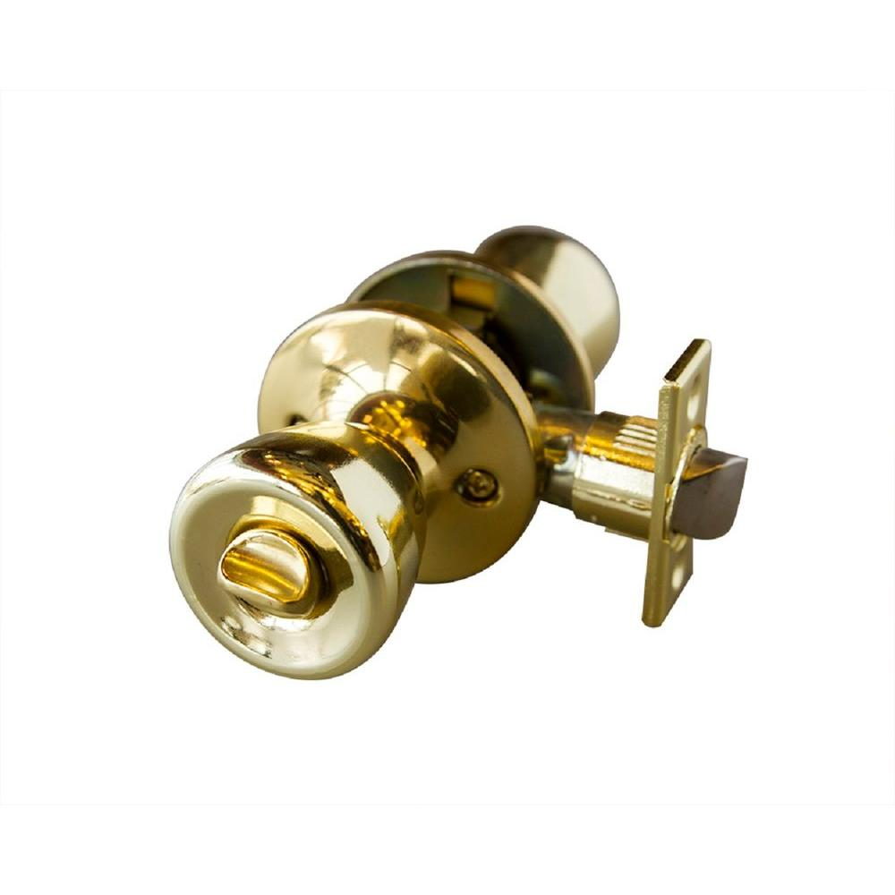 Terrace Polished Brass Privacy Knob with Universal 6-Way Latch