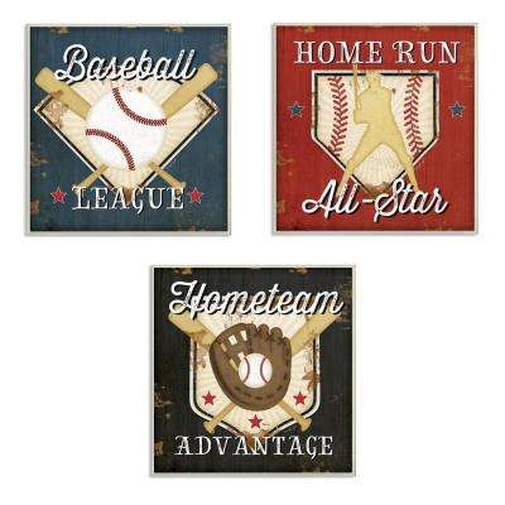 "12 in. x 12 in. ""Baseball All-Star"" by Jennifer Pugh Printed Wood Wall Art"