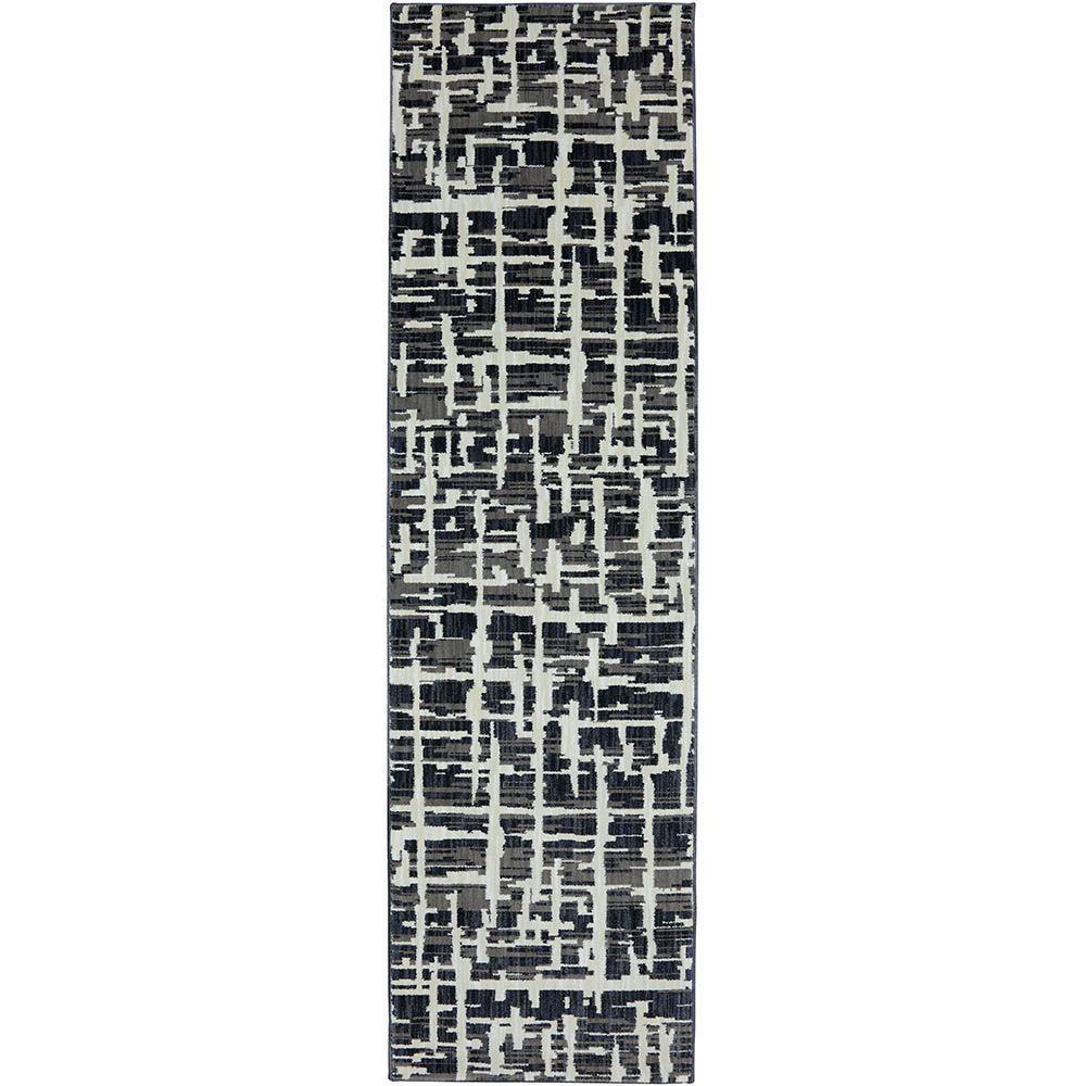 Karastan Grasscloth Black 2 ft. 4 in. x 8 ft. 3 in. Rug Runner