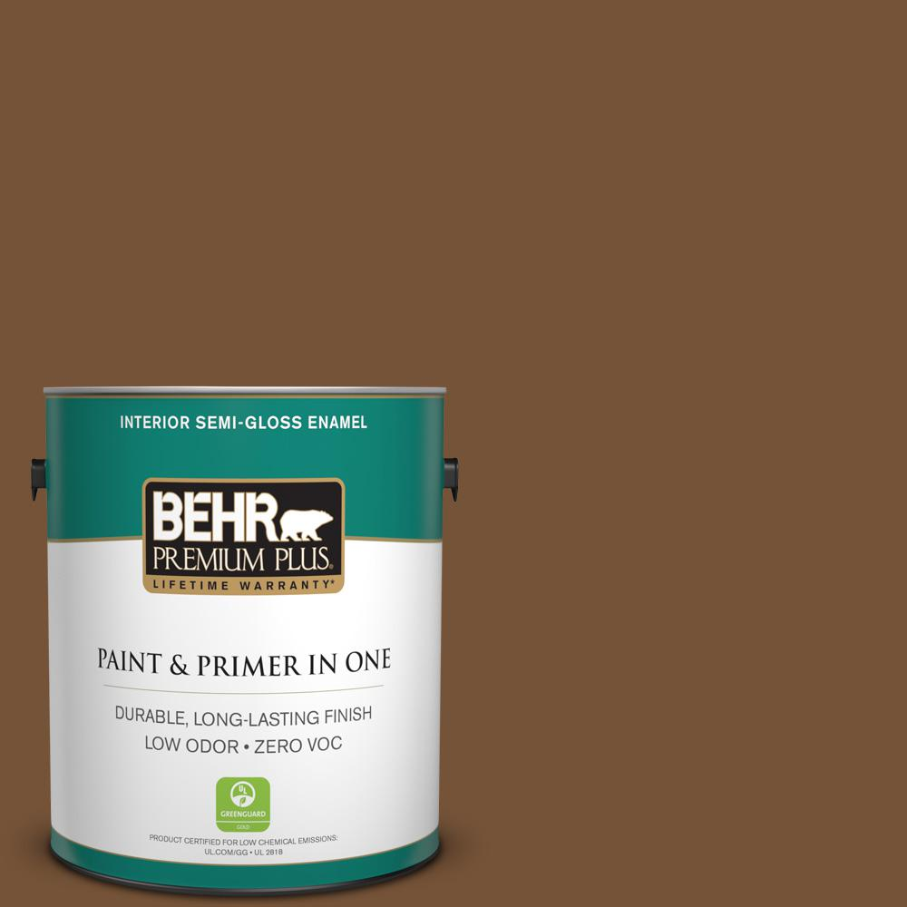 1-gal. #290F-7 Wooden Cabin Zero VOC Semi-Gloss Enamel Interior Paint