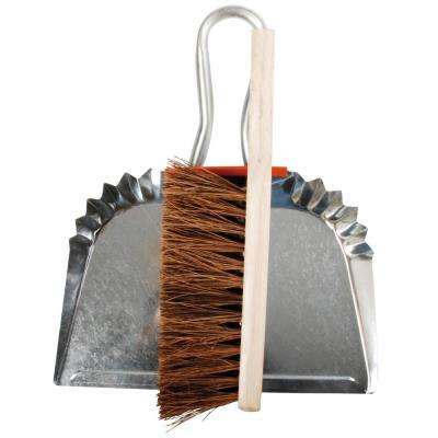 12 in. Metal Dust Pan with Wood Handle Broom