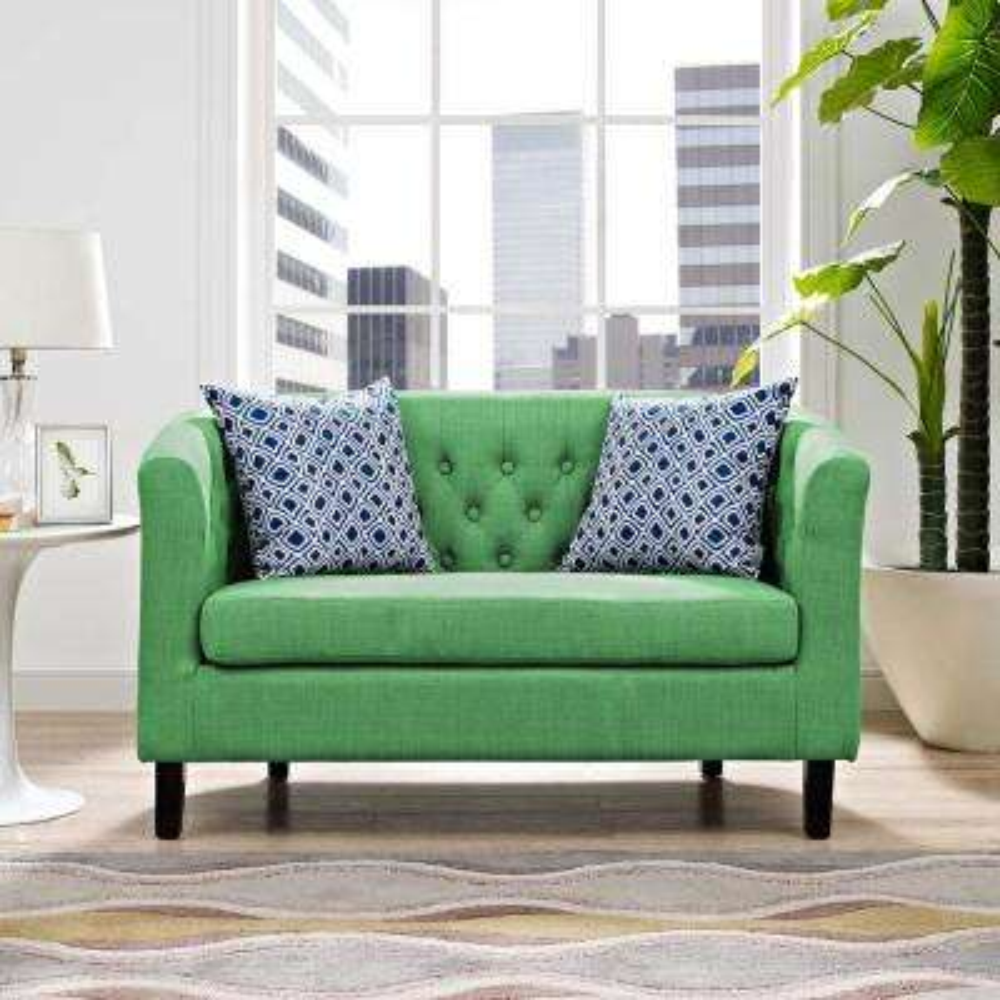 Prospect Kelly Green Upholstered Fabric Loveseat
