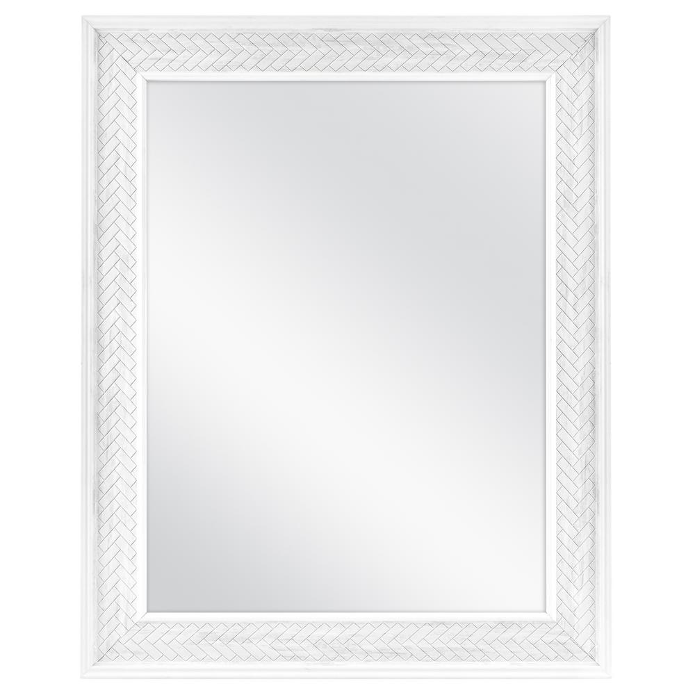 Home Decorators Collection 18 In W X 24 In H Framed Rectangular Anti Fog Bathroom Vanity Mirror In White 83023 The Home Depot