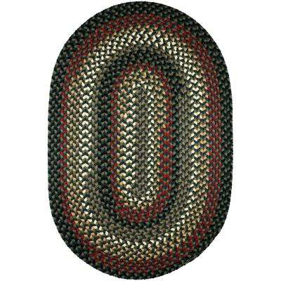 Country Medley Spruce Green Multi 8 ft. x 11 ft. Oval Indoor/Outdoor Braided Area Rug