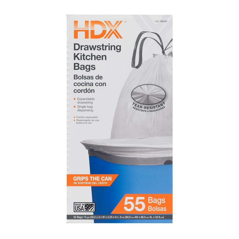 Hdx 13 Gal White Drawstring Kitchen Trash Bags 55 Count